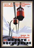 Skiing and Tram Poster by Paul Ordner