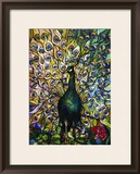 Fine Peacock Leaded Glass Domestic Window Framed Giclee Print by Tiffany Studios