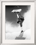 Snowboarder Doing a Handstand Framed Photographic Print by Kurt Olesek