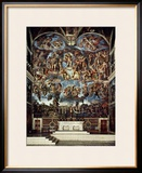 Sistine Chapel with the Retable of the Last Judgement (Fall of the Damned) Framed Giclee Print by Michelangelo Buonarroti