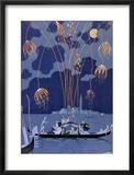 """Feuerwerk in Venedig, Illustration für """"Fetes Galantes"""" von Paul Verlaine, 1924 Gerahmter Giclée-Druck von Georges Barbier"""