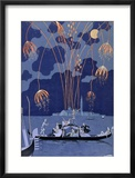 """Fireworks in Venice, Illustration for """"Fetes Galantes"""" by Paul Verlaine 1924 Framed Giclee Print by Georges Barbier"""
