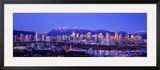 Twilight, Vancouver Skyline, British Columbia, Canada Framed Photographic Print by Panoramic Images 