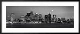 Nächtliche Skyline von Boston, Massachusetts, USA, schwarzweiß Gerahmter Fotografie-Druck von  Panoramic Images