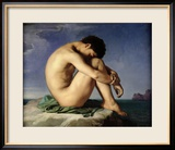 Naked Young Man Sitting by the Sea, 1836 Gerahmter Giclée-Druck von Hippolyte Flandrin