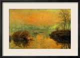 Setting Sun on the Seine at Lavacourt, Effect of Winter, 1880 Estampe encadrée par Claude Monet