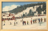 Skiing at Big Bromley, Manchester, Vermont Framed Giclee Print