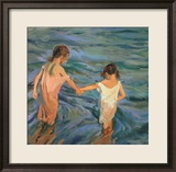 Children in the Sea, 1909 Estampe encadrée par Joaquín Sorolla y Bastida