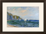 Cliffs and Sailboats at Pourville Framed Giclee Print by Claude Monet