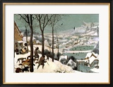 Hunters in the Snow, February, 1565 Lmina gicle enmarcada por Pieter Bruegel the Elder