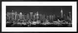 Skyline del West Side di notte in bianco e nero, New York, Stati Uniti Stampa fotografica incorniciata di Panoramic Images,
