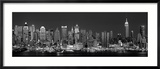 West Side Skyline at Night in Black and White, New York, USA Framed Photographic Print by  Panoramic Images