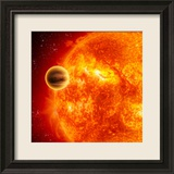 Gas-Giant Exoplanet Transiting Across the Face of Its Star Framed Photographic Print by Stocktrek Images