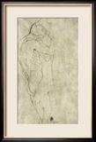 Lovers, Black Crayon (1908) Gerahmter Giclée-Druck von Gustav Klimt