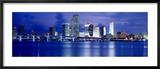 Panoramic View of an Urban Skyline at Night, Miami, Florida, USA Gerahmter Fotografie-Druck von Paula Scaletta