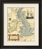 Karte der Britischen Inseln Gerahmter Giclée-Druck von  Vision Studio