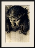 Head of Christ, circa 1890 Estampe encadr&#233;e par Franz von Stuck