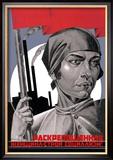 Je bent nu een vrije vrouw, help het socialisme opbouwen!, poster vrouw met rode vlag met Russiche tekst Posters van Adolf Strakhov