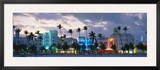 Buildings Lit Up at Dusk, Ocean Drive, Miami Beach, Florida, USA Framed Photographic Print by  Panoramic Images