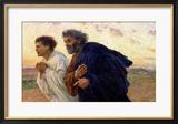 Am Morgen der Auferstehung Die Jünger Petrus und Johannes auf dem Weg zum Grab, ca. 1898 Gerahmter Giclée-Druck von Eugene Burnand