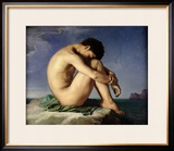 Naked Young Man Sitting by the Sea, 1836 Framed Giclee Print by Hippolyte Flandrin