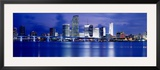 Panoramic View of an Urban Skyline at Night, Miami, Florida, USA Framed Photographic Print by Paula Scaletta