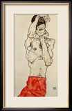 Standing Male Nude with Red Loincloth, 1914 Estampe encadrée par Egon Schiele
