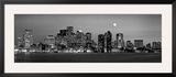 Black and White Skyline at Night, Boston, Massachusetts, USA Framed Photographic Print by  Panoramic Images