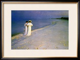 Summer Evening on the Skagen Southern Beach with Anna Ancher and Marie Kroyer, 1893 Framed Giclee Print by Peder Severin Kröyer