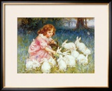 Feeding the Rabbits Framed Giclee Print by Frederick Morgan