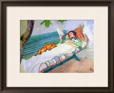 Woman Lying on a Bench, 1913 Framed Giclee Print by Carl Larsson