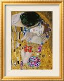 The Kiss, Der Kuss, Close-Up of Heads Gerahmter Giclée-Druck von Gustav Klimt
