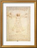 Vitruvianischer Mensch|Vitruvian Man, ca. 1492 Gerahmter Giclée-Druck von  Leonardo da Vinci