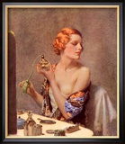 Perfume Woman Doing Her Make-Up, Budoir Putting On Perfume, UK, 1930 Poster