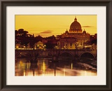 St Peter's Basilica and Ponte Saint Angelo, Rome, Italy Framed Photographic Print by Doug Pearson