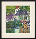 Kirche in Unterach Am Attersee, Church in Unterach on Attersee Gerahmter Giclée-Druck von Gustav Klimt