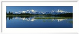 Reflection of Mountains in Lake, Mt. Foraker and Mt. Mckinley, Denali National Park, Alaska, USA Gerahmter Fotografie-Druck von Panoramic Images