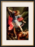 The Archangel Michael Defeating Satan Framed Giclee Print by Guido Reni