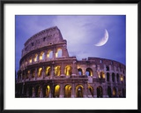 The Colosseum at Night, Rome, Italy Lámina fotográfica enmarcada por Terry Why