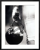 Low Angle View of An American Football Player Holding a Helmet Gerahmter Fotografie-Druck