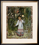 "Vassilissa in the Forest, Illustration from the Russian Folk Tale, ""The Very Beautiful Vassilissa"" Framed Giclee Print by Ivan Bilibin"