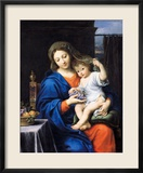 Madonna mit den Trauben, 1640-50 Gerahmter Giclée-Druck von Pierre Mignard
