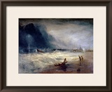 Lifeboat and Manby Apparatus Going off to a Stranded Vessel Making Signal of Distress, circa 1831 Framed Giclee Print by J. M. W. Turner