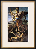 St. Michael Overwhelming the Demon, 1518 Framed Giclee Print by Raphael