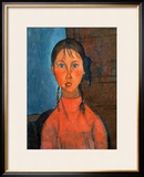 Girl with Pigtails, circa 1918 Framed Giclee Print by Amedeo Modigliani
