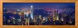 Victoria-satama ja siluetti vuorenhuipulta nähtynä, Hongkong, Kiina Kehystetty valokuvavedos tekijänä Michele Falzone