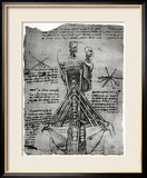 Bone Structure of the Human Neck and Shoulder, Facsimile Copy Framed Giclee Print by Leonardo da Vinci