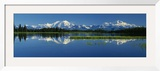 Reflection of Mountains in Lake, Mt. Foraker and Mt. Mckinley, Denali National Park, Alaska, USA Framed Photographic Print by  Panoramic Images