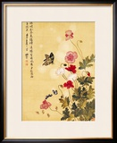 Corn Poppy and Butterflies, 1702 Framed Giclee Print by Ma Yuanyu