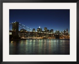 Manhattan Skyline and Brooklyn Bridge at Dusk, New York City, New York, USA Framed Photographic Print by Amanda Hall